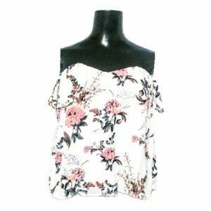 Charlotte Russe Floral Off-Shoulder Crop Top Sz M